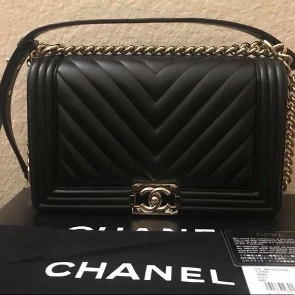 ca2155c6c0e8 Bags   Boy Chanel Black Chevron Quilted Lambskin Medium   Poshmark